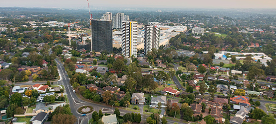 Aerial view of Castle Hill area, Hills District Sydney